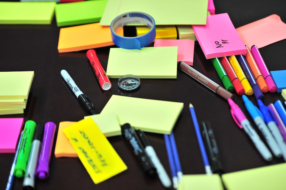 supplies - post it notes, markers, pencils - for exam prep